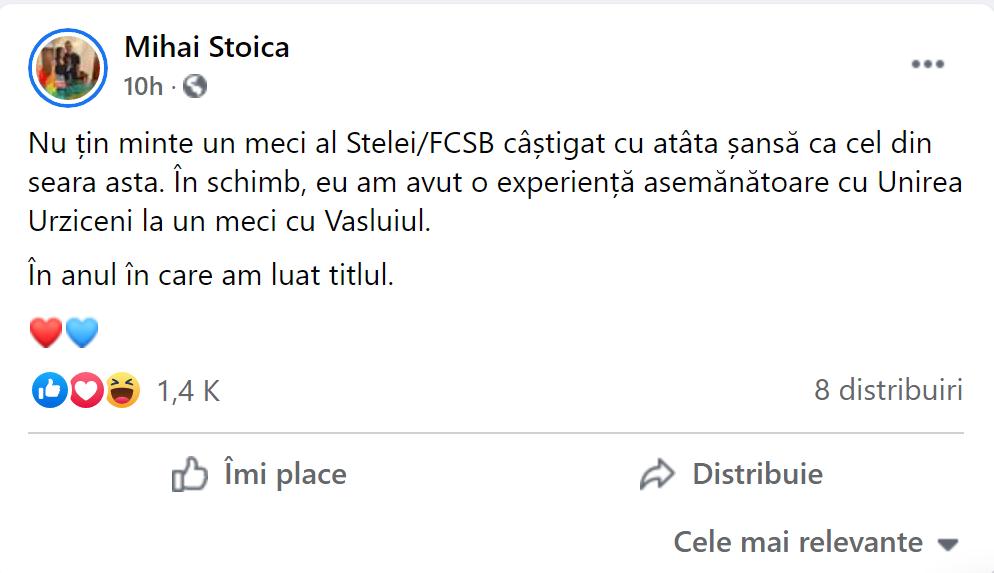Mihai Stoica spune că FCSB a câșticat cu șansa în fața lui Gaz Metan
