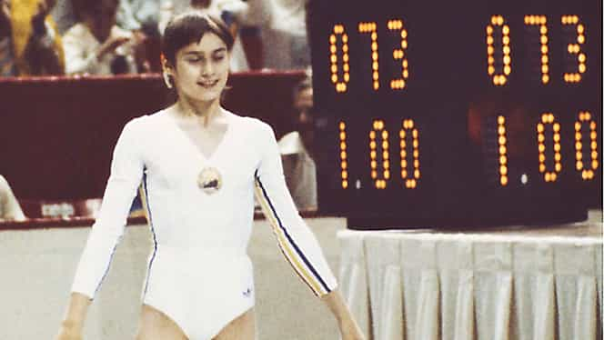 Nadia Comăneci a obţinut prima notă de 10 din istoria Jocurilor Olimpice