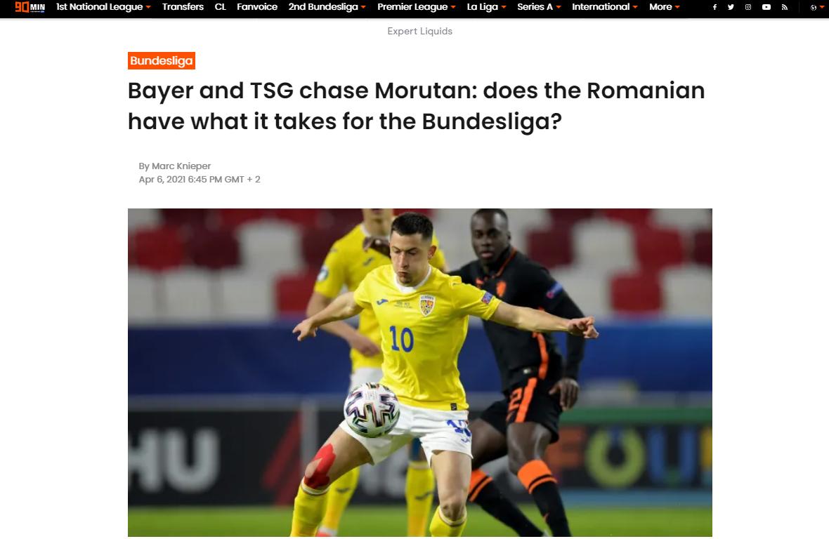 """Jurnaliștii nemți au dat verdictul! """"Moruțan poate face față în Bundesliga!"""""""