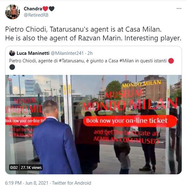 Pe Twitter circulă zvonuri potrivit cărora, Răzvan Marin ar putea fi în discuții cu AC Milan
